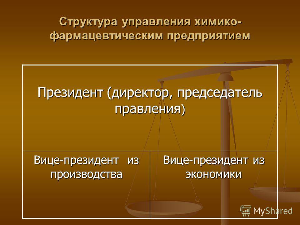 Структура управления химико- фармацевтическим предприятием Президент (директор, председатель правления ) Вице-президент из производства Вице-президент из экономики
