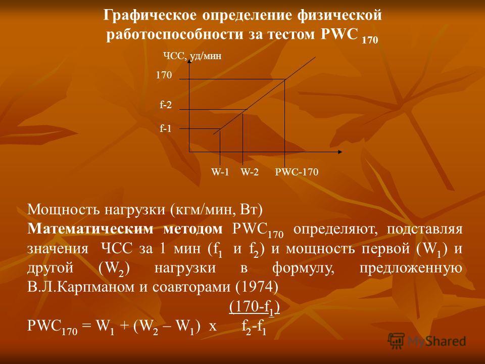 Графическое определение физической работоспособности за тестом PWC 170 ЧСС, уд/мин 170 f-2 f-1 W-1 W-2 PWC-170 Мощность нагрузки (кгм/мин, Вт) Математическим методом РWC 170 определяют, подставляя значения ЧСС за 1 мин (f 1 и f 2 ) и мощность первой