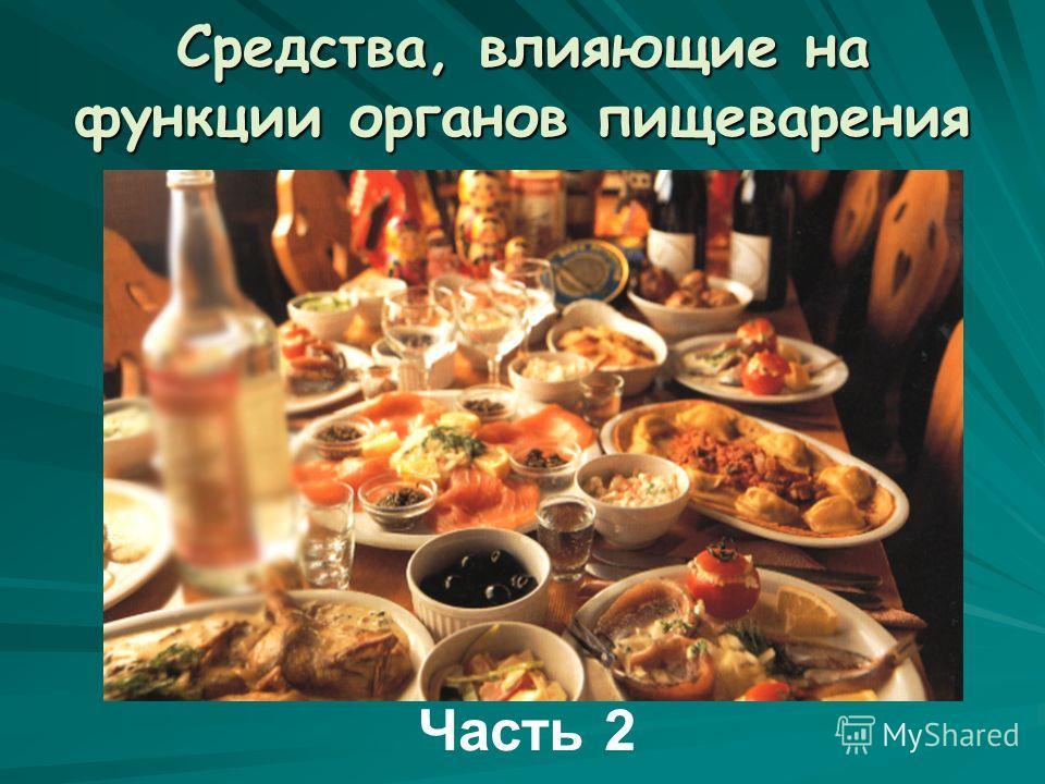 Средства, влияющие на функции органов пищеварения Часть 2