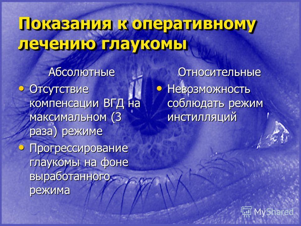 Показания к оперативному лечению глаукомы Абсолютные Отсутствие компенсации ВГД на максимальном (3 раза) режиме Отсутствие компенсации ВГД на максимальном (3 раза) режиме Прогрессирование глаукомы на фоне выработанного режима Прогрессирование глауком