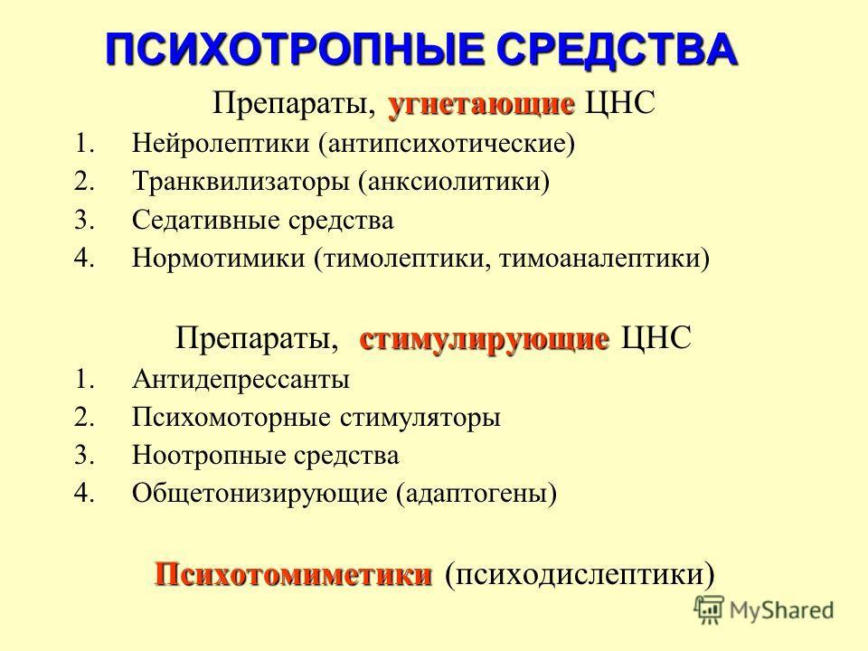 угнетающие Препараты, угнетающие ЦНС 1.Нейролептики (антипсихотические) 2.Транквилизаторы (анксиолитики) 3.Седативные средства 4.Нормотимики (тимолептики, тимоаналептики) стимулирующие Препараты, стимулирующие ЦНС 1.Антидепрессанты 2.Психомоторные ст