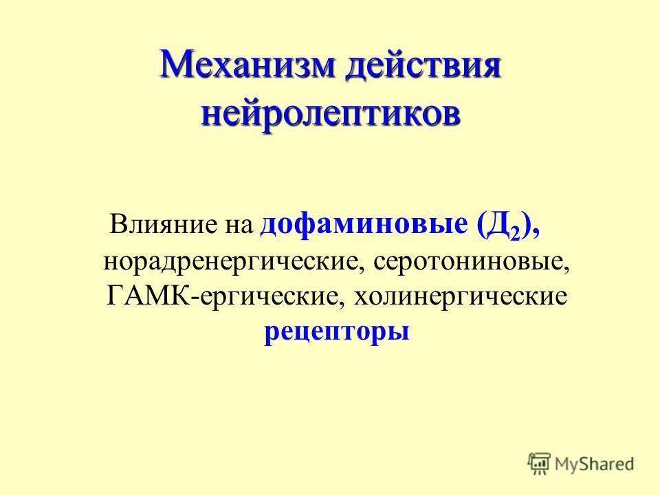 Механизм действия нейролептиков Влияние на дофаминовые (Д 2 ), норадренергические, серотониновые, ГАМК-ергические, холинергические рецепторы