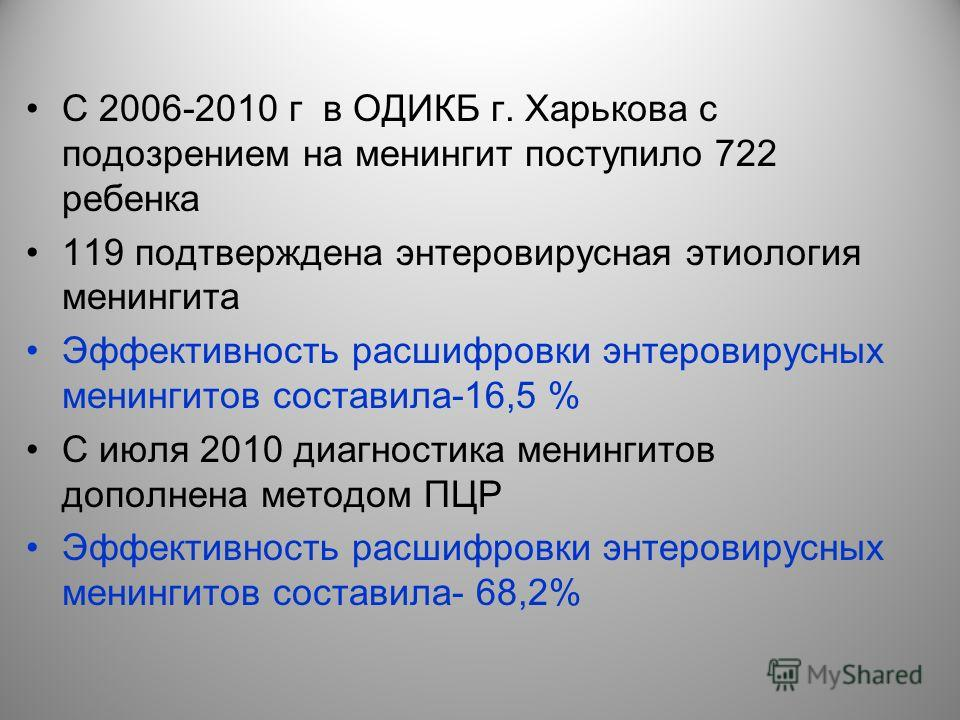 C 2006-2010 г в ОДИКБ г. Харькова с подозрением на менингит поступило 722 ребенка 119 подтверждена энтеровирусная этиология менингита Эффективность расшифровки энтеровирусных менингитов составила-16,5 % С июля 2010 диагностика менингитов дополнена ме
