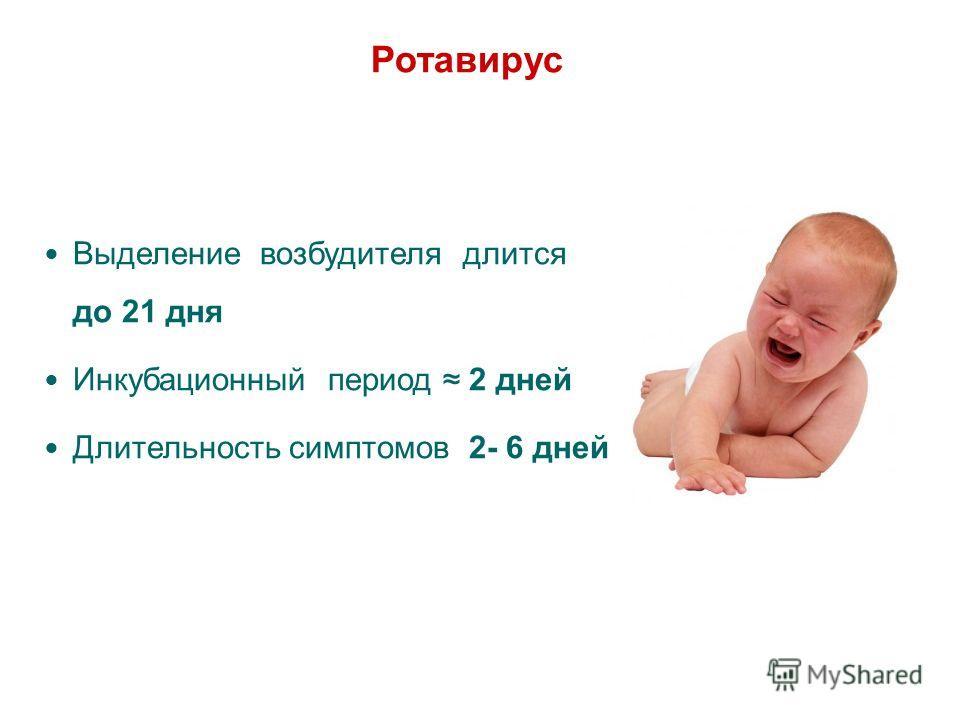 Ротавирус Выделение возбудителя длится до 21 дня Инкубационный период 2 дней Длительность симптомов 2- 6 дней 13