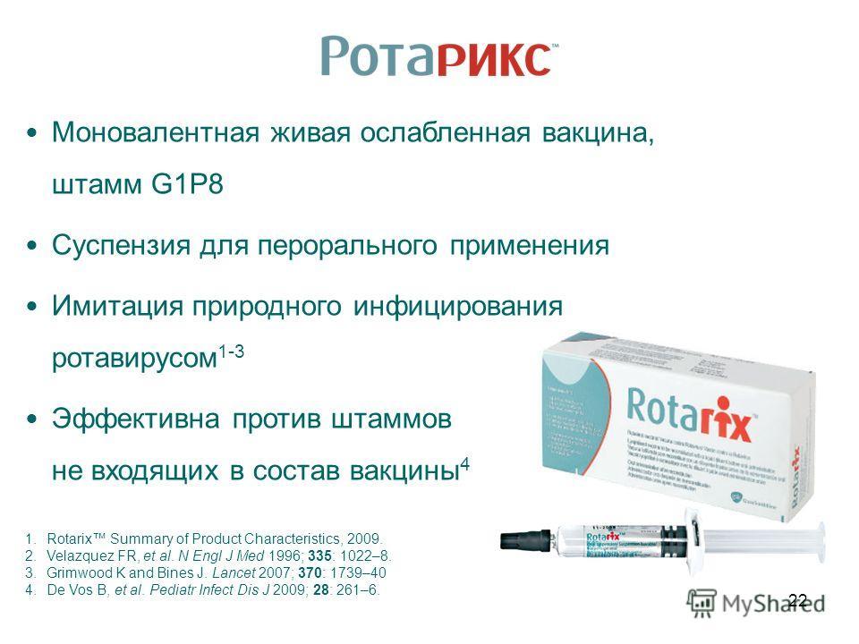 Моновалентная живая ослабленная вакцина, штамм G1P8 Суспензия для перорального применения Имитация природного инфицирования ротавирусом 1-3 Эффективна против штаммов не входящих в состав вакцины 4 1.Rotarix Summary of Product Characteristics, 2009. 2