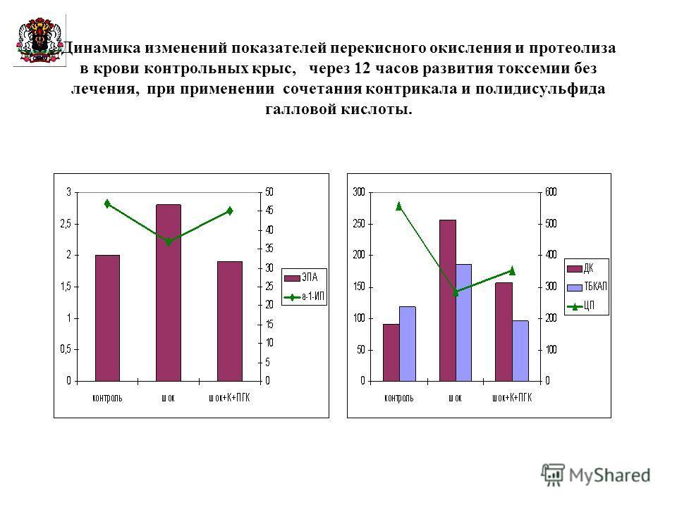 Динамика изменений показателей перекисного окисления и протеолиза в крови контрольных крыс, через 12 часов развития токсемии без лечения, при применении сочетания контрикала и полидисульфида галловой кислоты.