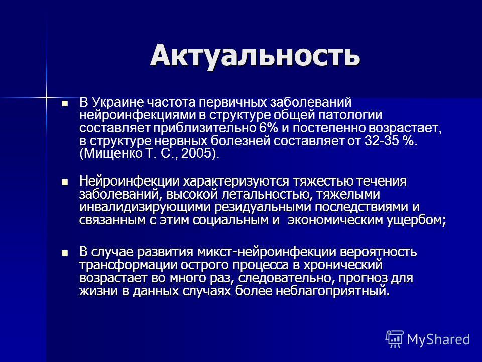 Актуальность В Украине частота первичных заболеваний нейроинфекциями в структуре общей патологии составляет приблизительно 6% и постепенно возрастает, в структуре нервных болезней составляет от 32-35 %. (Мищенко Т. С., 2005). Нейроинфекции характериз