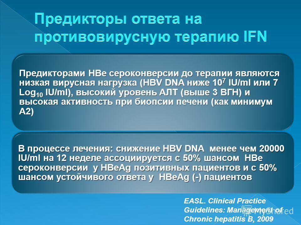 Предикторами HВe сероконверсии до терапии являются низкая вирусная нагрузка (HBV DNA ниже 10 7 IU/ml или 7 Log10 IU/ml), высокий уровень АЛТ (выше 3 ВГН) и высокая активность при биопсии печени (как минимум А2) В процессе лечения: снижение HBV DNA ме