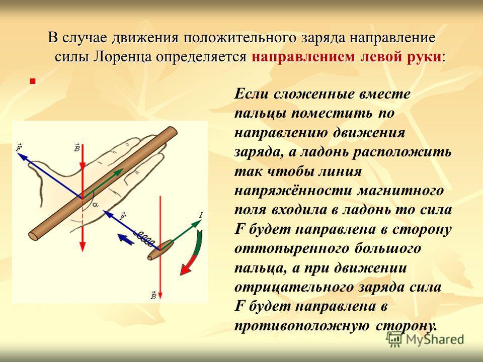 В случае движения положительного заряда направление силы Лоренца определяется направлением левой руки: Если сложенные вместе пальцы поместить по направлению движения заряда, а ладонь расположить так чтобы линия напряжённости магнитного поля входила в