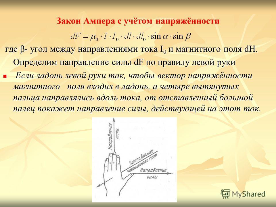 Закон Ампера с учётом напряжённости где β- угол между направлениями тока I 0 и магнитного поля dH. где β- угол между направлениями тока I 0 и магнитного поля dH. Определим направление силы dF по правилу левой руки Если ладонь левой руки так, чтобы ве