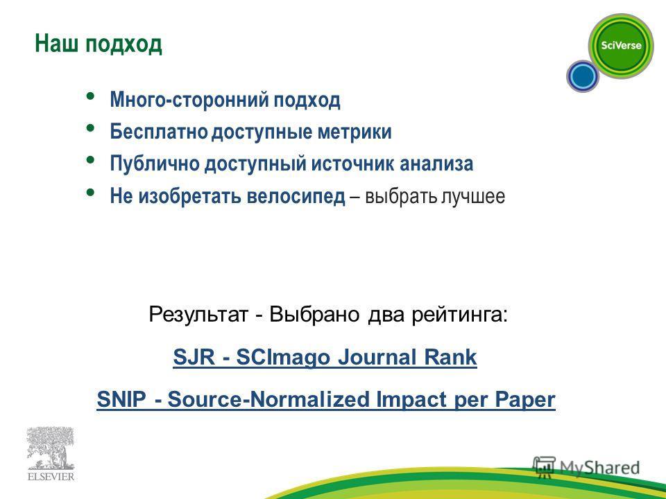 Наш подход Много-сторонний подход Бесплатно доступные метрики Публично доступный источник анализа Не изобретать велосипед – выбрать лучшее Результат - Выбрано два рейтинга: SJR - SCImago Journal Rank SNIP - Source-Normalized Impact per Paper