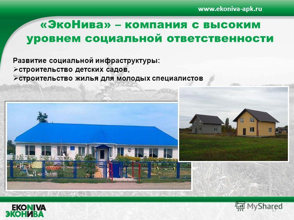 «ЭкоНива» – компания с высоким уровнем социальной ответственности 17 www.ekoniva-apk.ru Развитие социальной инфраструктуры: строительство детских садов, строительство жилья для молодых специалистов
