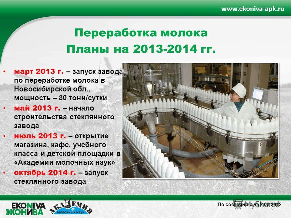 8 www.ekoniva-apk.ru По состоянию на 2.03.2012 Переработка молока Планы на 2013-2014 гг. март 2013 г. – запуск завода по переработке молока в Новосибирской обл., мощность – 30 тонн/сутки май 2013 г. – начало строительства стеклянного завода июль 2013