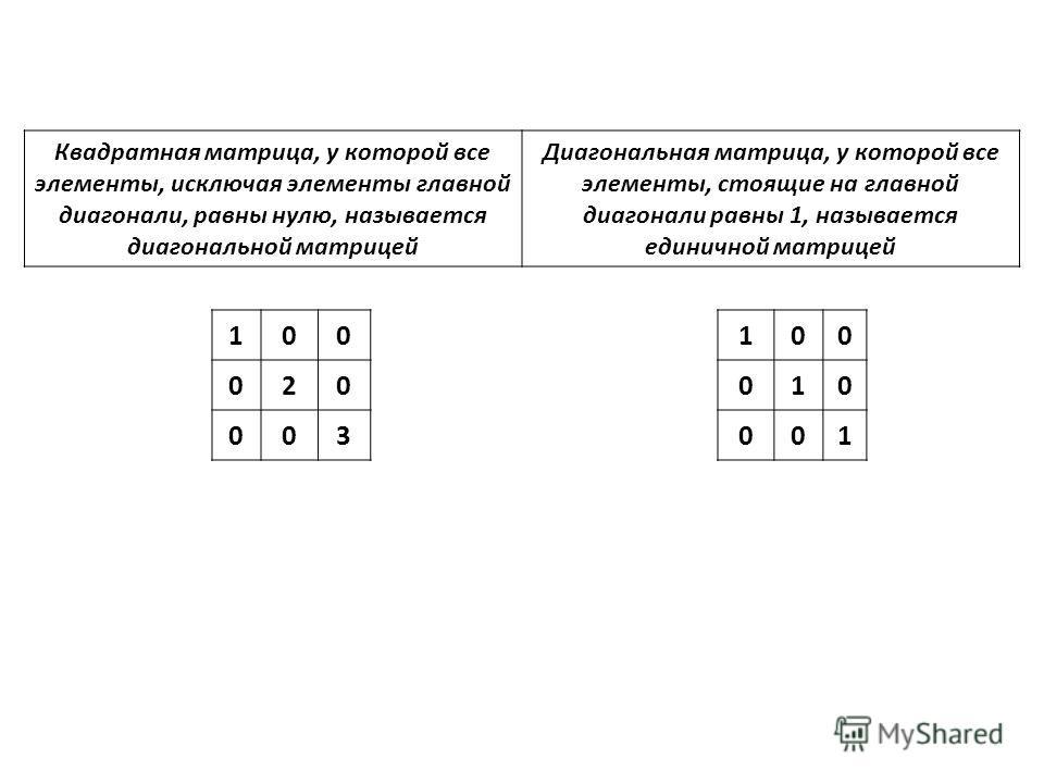 Квадратная матрица, у которой все элементы, исключая элементы главной диагонали, равны нулю, называется диагональной матрицей Диагональная матрица, у которой все элементы, стоящие на главной диагонали равны 1, называется единичной матрицей 100 020 00