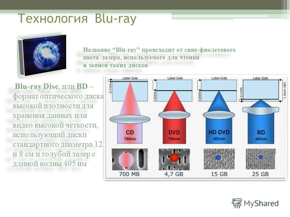 Технология Blu-ray Blu-ray Disc, или BD – формат оптического диска высокой плотности для хранения данных или видео высокой четкости, использующий диски стандартного диаметра 12 и 8 см и голубой лазер с длиной волны 405 нм Название Blu-ray происходит