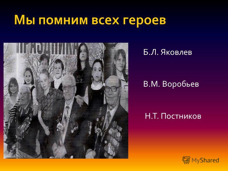 Б.Л. Яковлев В.М. Воробьев Н.Т. Постников