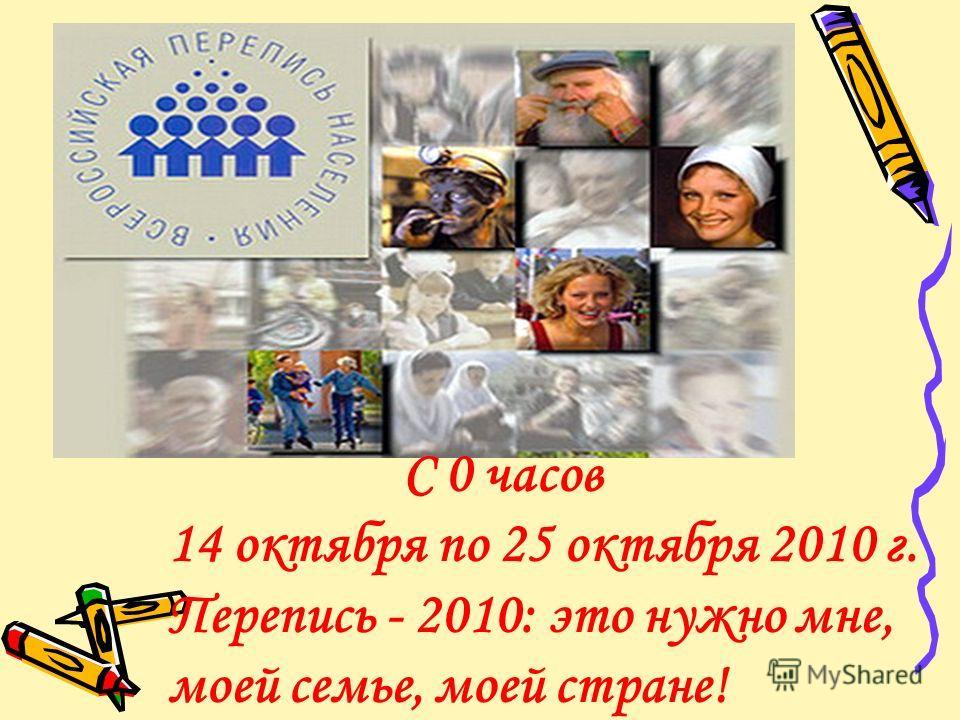 С 0 часов 14 октября по 25 октября 2010 г. Перепись - 2010: это нужно мне, моей семье, моей стране!