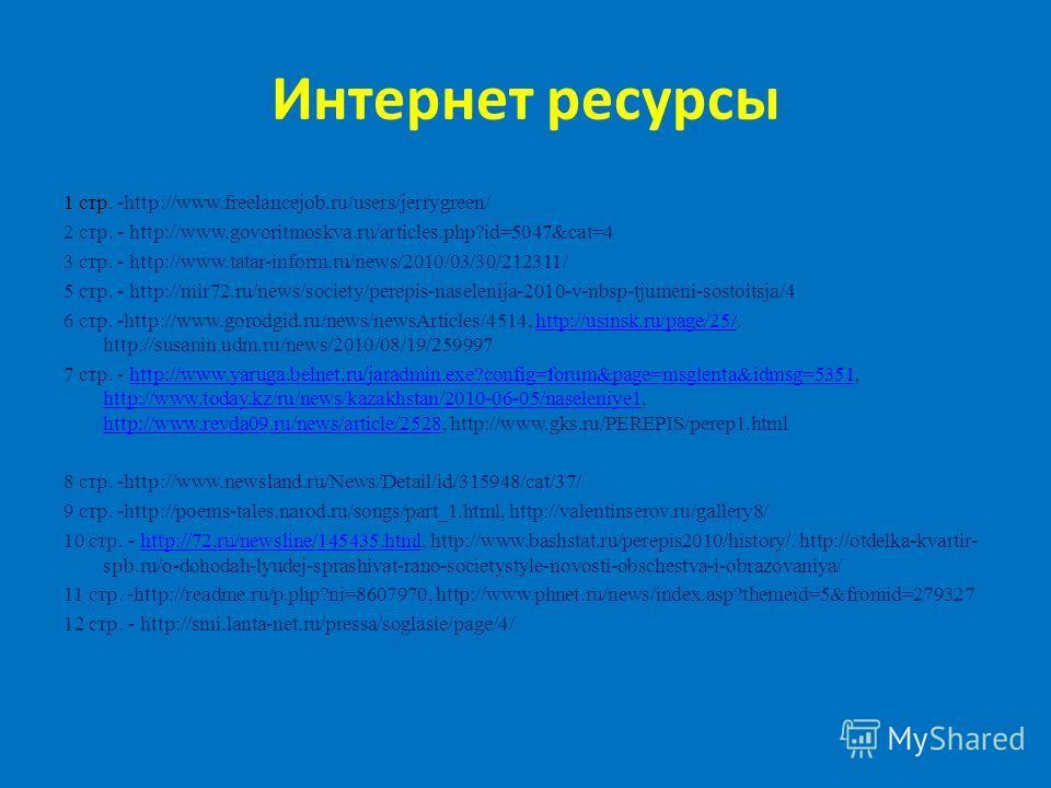 Интернет ресурсы 1 стр. -http://www.freelancejob.ru/users/jerrygreen/ 2 стр. - http://www.govoritmoskva.ru/articles.php?id=5047&cat=4 3 стр. - http://www.tatar-inform.ru/news/2010/03/30/212311/ 5 стр. - http://mir72.ru/news/society/perepis-naselenija