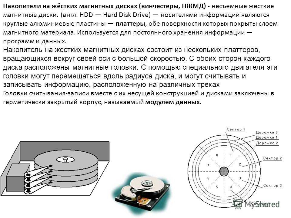 Накопители на жёстких магнитных дисках (винчестеры, НЖМД) - несъемные жесткие магнитные диски. (англ. HDD Hard Disk Drive) носителями информации являются круглые алюминиевые пластины платтеры, обе поверхности которых покрыты слоем магнитного материал