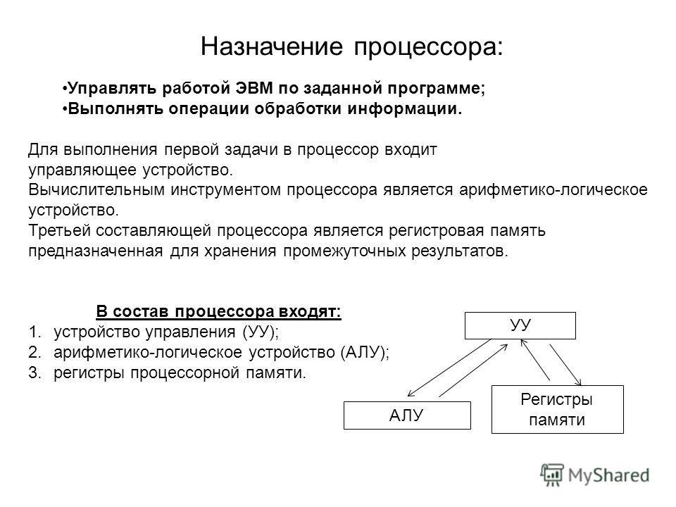 Назначение процессора: Управлять работой ЭВМ по заданной программе; Выполнять операции обработки информации. Для выполнения первой задачи в процессор входит управляющее устройство. Вычислительным инструментом процессора является арифметико-логическое