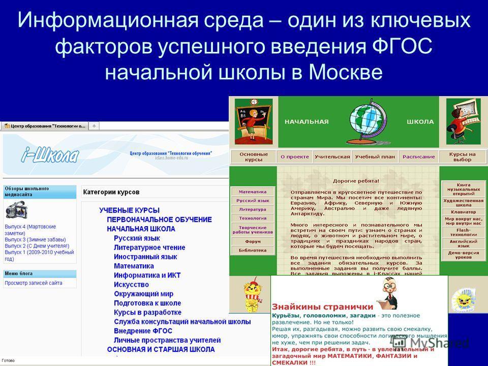 Информационная среда – один из ключевых факторов успешного введения ФГОС начальной школы в Москве