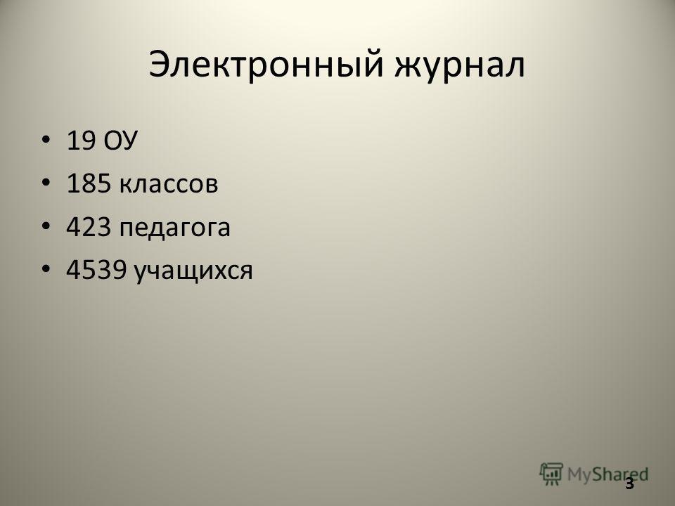 Электронный журнал 19 ОУ 185 классов 423 педагога 4539 учащихся 3