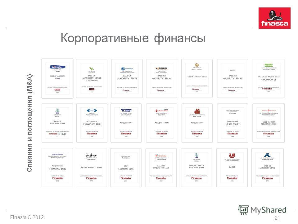 Finasta © 2012 Корпоративные финансы 21 Слияния и поглощения (M&A)