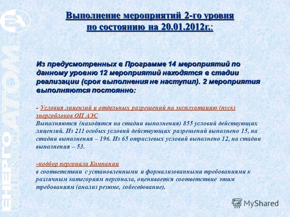 2 Выполнение мероприятий 2-го уровня по состоянию на 20.01.2012г.: Из предусмотренных в Программе 14 мероприятий по данному уровню 12 мероприятий находятся в стадии реализации (срок выполнения не наступил). 2 мероприятия выполняются постоянно: - Усло