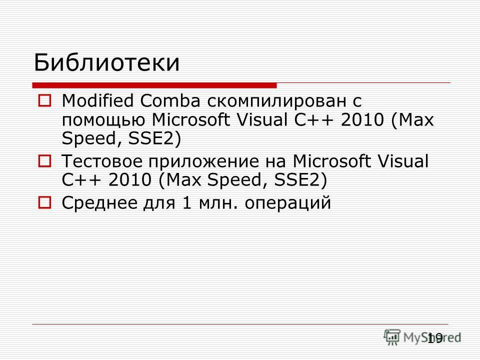 Библиотеки Modified Comba скомпилирован с помощью Microsoft Visual С++ 2010 (Max Speed, SSE2) Тестовое приложение на Microsoft Visual C++ 2010 (Max Speed, SSE2) Среднее для 1 млн. операций * Ashraf Abusharekh and Krzysztof Gaj. Comparative Analysis o