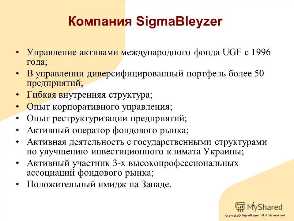 Корпоративное управление и портфельные инвестиции в Украине Диана Смахтина Инвестиционная компания SigmaBleyzer Октябрь 2004 г. г. Судак