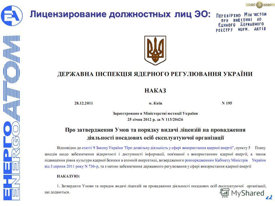 22 Лицензирование должностных лиц ЭО: