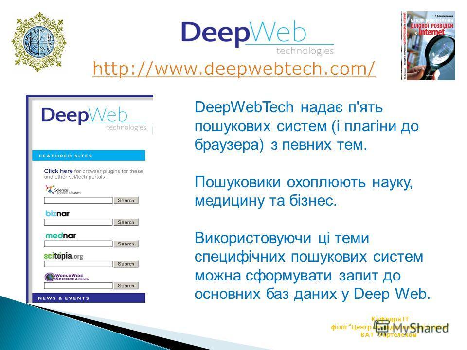 Кафедра ІТ філії Центр післядипломної освіти ВАТ Укртелеком DeepWebTech надає п'ять пошукових систем (і плагіни до браузера) з певних тем. Пошуковики охоплюють науку, медицину та бізнес. Використовуючи ці теми специфічних пошукових систем можна сформ