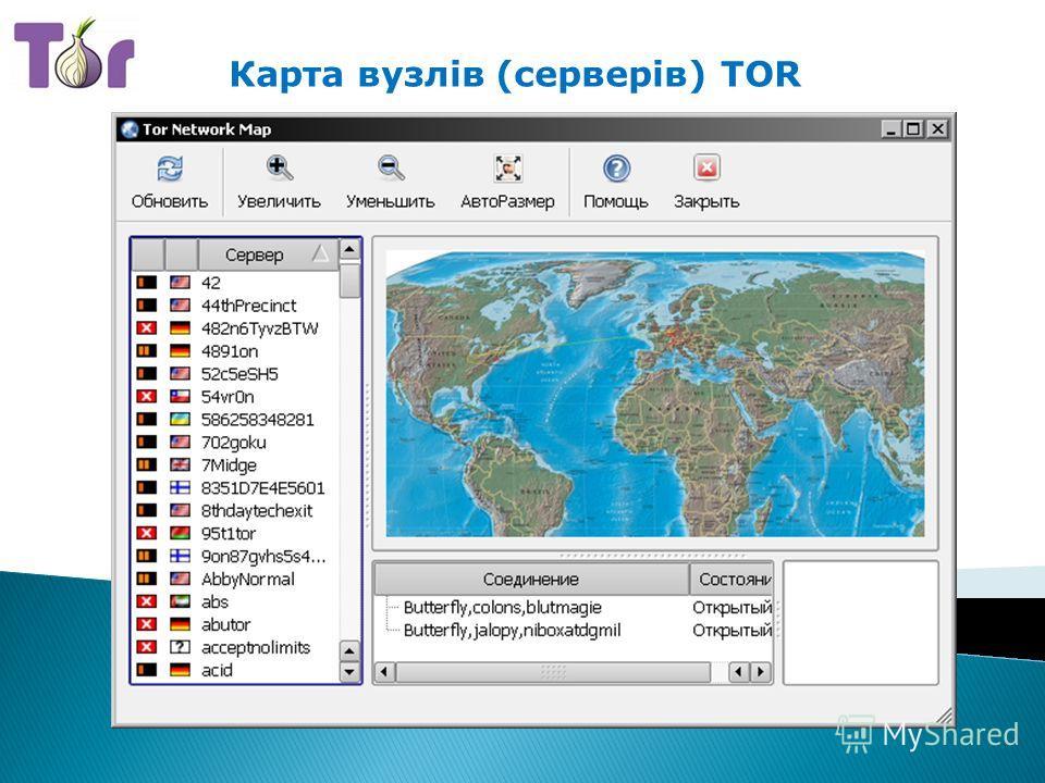 Карта вузлів (серверів) TOR