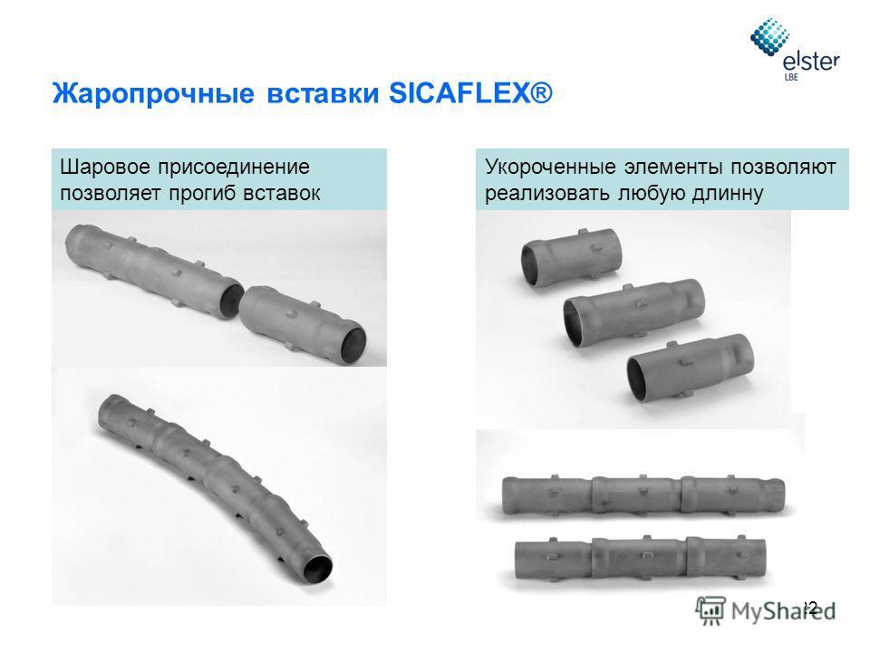 22 Жаропрочные вставки SICAFLEX® Шаровое присоединение позволяет прогиб вставок Укороченные элементы позволяют реализовать любую длинну