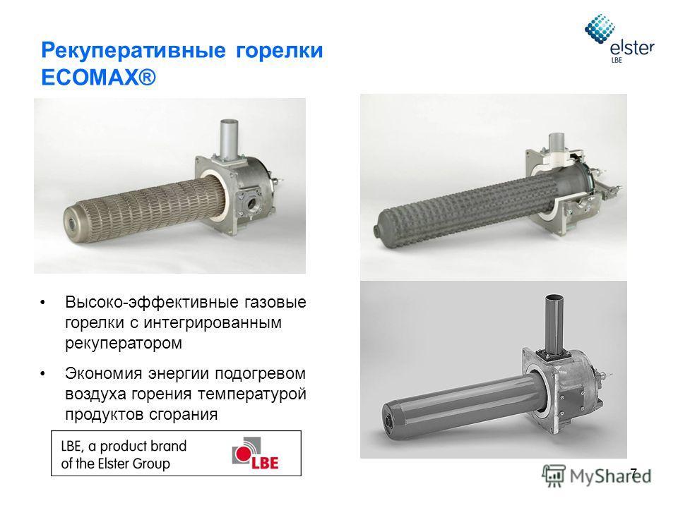 7 Рекуперативные горелки ECOMAX® Высоко-эффективные газовые горелки с интегрированным рекуператором Экономия энергии подогревом воздуха горения температурой продуктов сгорания