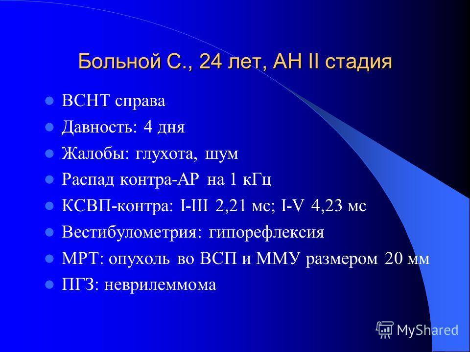 Больной С., 24 лет, АН II стадия ВСНТ справа Давность: 4 дня Жалобы: глухота, шум Распад контра-АР на 1 кГц КСВП-контра: I-III 2,21 мс; I-V 4,23 мс Вестибулометрия: гипорефлексия МРТ: опухоль во ВСП и ММУ размером 20 мм ПГЗ: неврилеммома