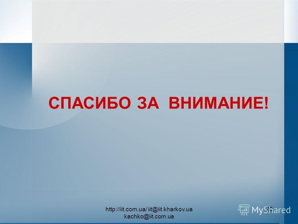 http://iit.com.ua/ iit@iit.kharkov.ua kachko@iit.com.ua 20 СПАСИБО ЗА ВНИМАНИЕ!