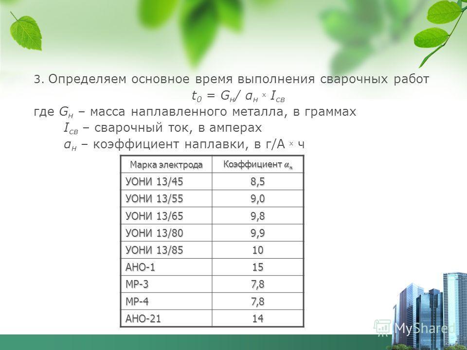 3. Определяем основное время выполнения сварочных работ t 0 = G н / α н х I св где G н – масса наплавленного металла, в граммах I св – сварочный ток, в амперах α н – коэффициент наплавки, в г/А х ч Марка электрода Коэффициент α н УОНИ 13/45 8,5 УОНИ