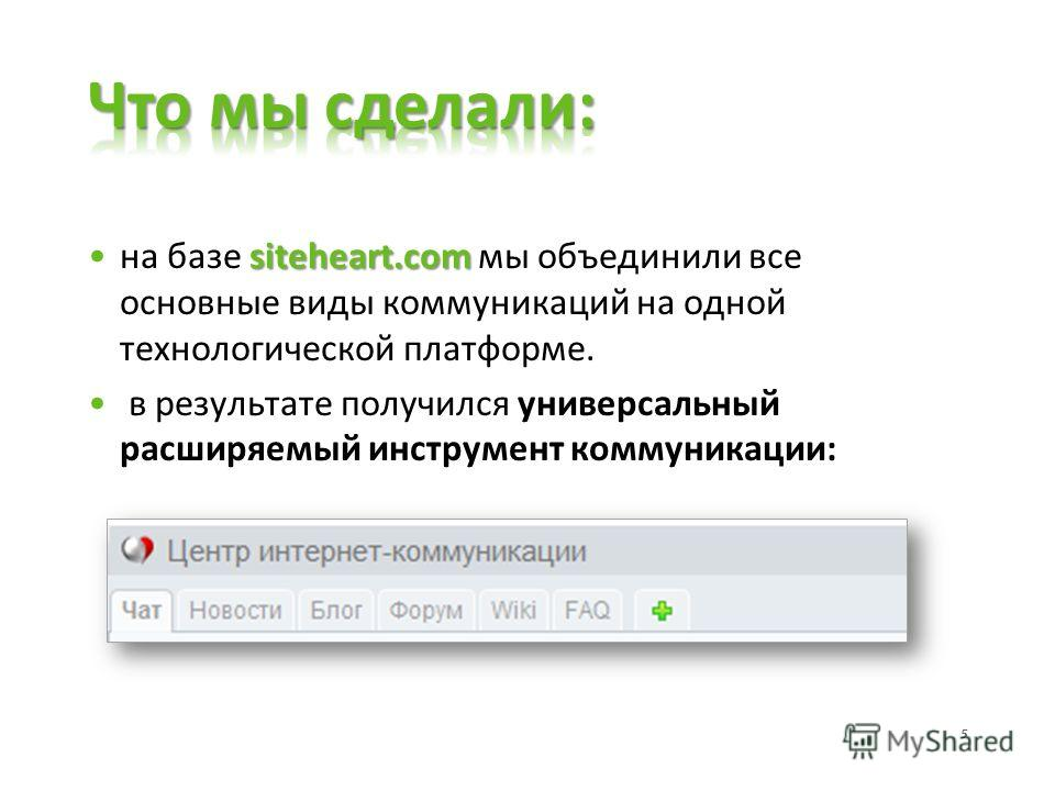 siteheart.comна базе siteheart.com мы объединили все основные виды коммуникаций на одной технологической платформе. в результате получился универсальный расширяемый инструмент коммуникации: 5