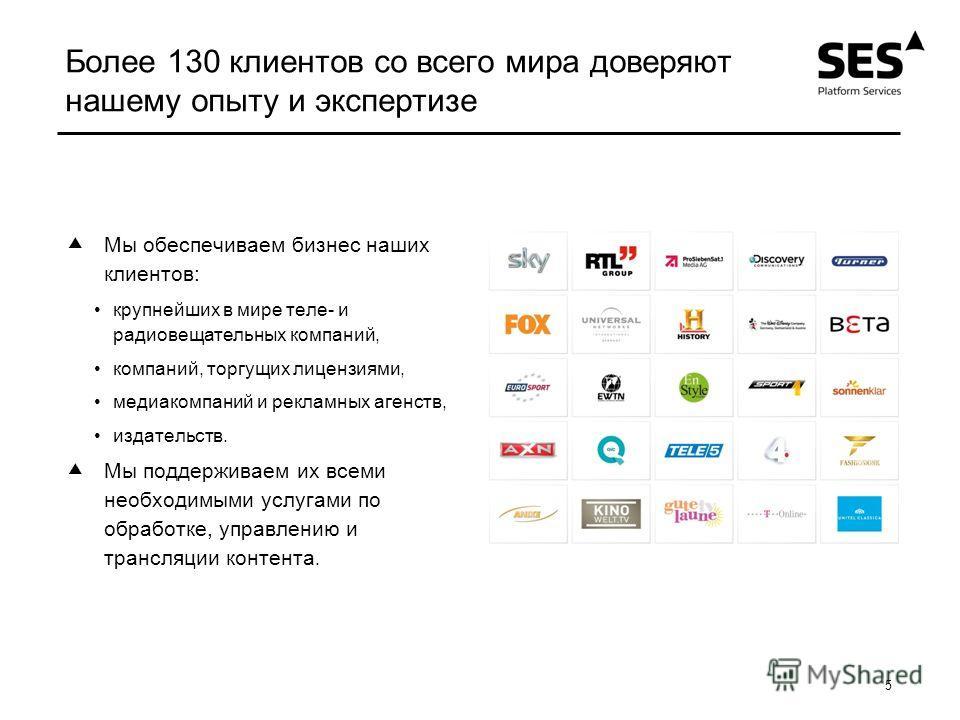 5 Более 130 клиентов со всего мира доверяют нашему опыту и экспертизе Мы обеспечиваем бизнес наших клиентов: крупнейших в мире теле- и радиовещательных компаний, компаний, торгущих лицензиями, медиакомпаний и рекламных агенств, издательств. Мы поддер