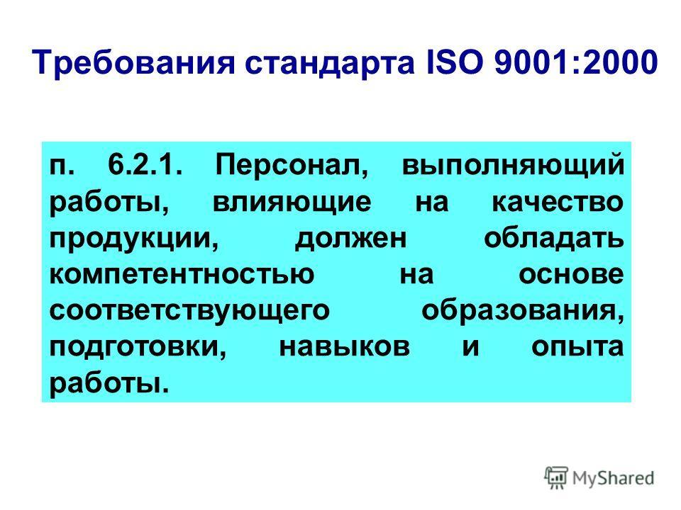 Требования стандарта ISO 9001:2000 п. 6.2.1. Персонал, выполняющий работы, влияющие на качество продукции, должен обладать компетентностью на основе соответствующего образования, подготовки, навыков и опыта работы.