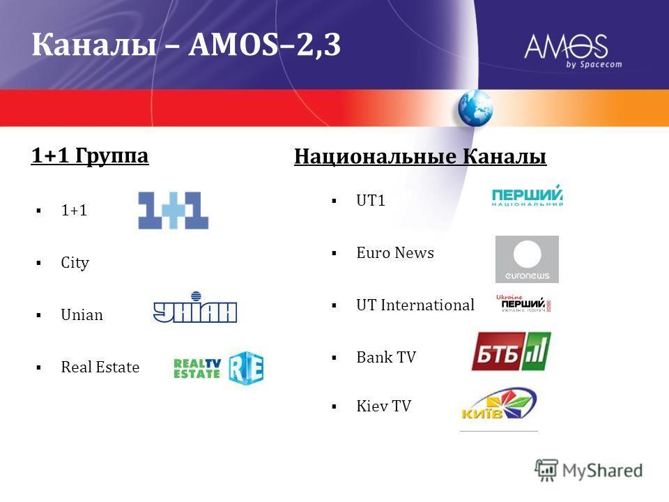 1+1 City Unian Real Estate UT1 Euro News UT International Bank TV Kiev TV 1+1 Группа Национальные Каналы Каналы – AMOS–2,3