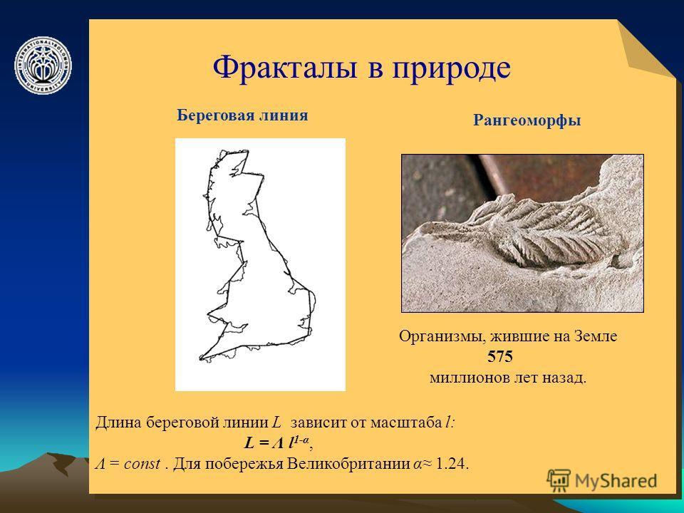 © ElVisti5 Фракталы в природе Длина береговой линии L зависит от масштаба l: L = Λ l 1-α, Λ = const. Для побережья Великобритании α 1.24. Береговая линия Рангеоморфы Организмы, жившие на Земле 575 миллионов лет назад.