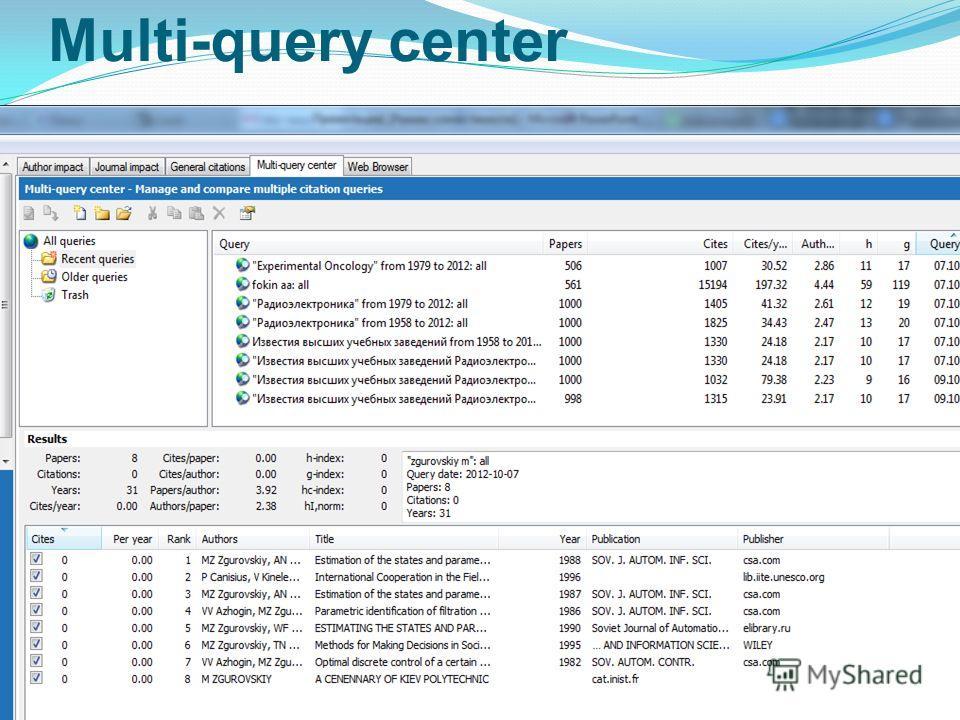 Multi-query center