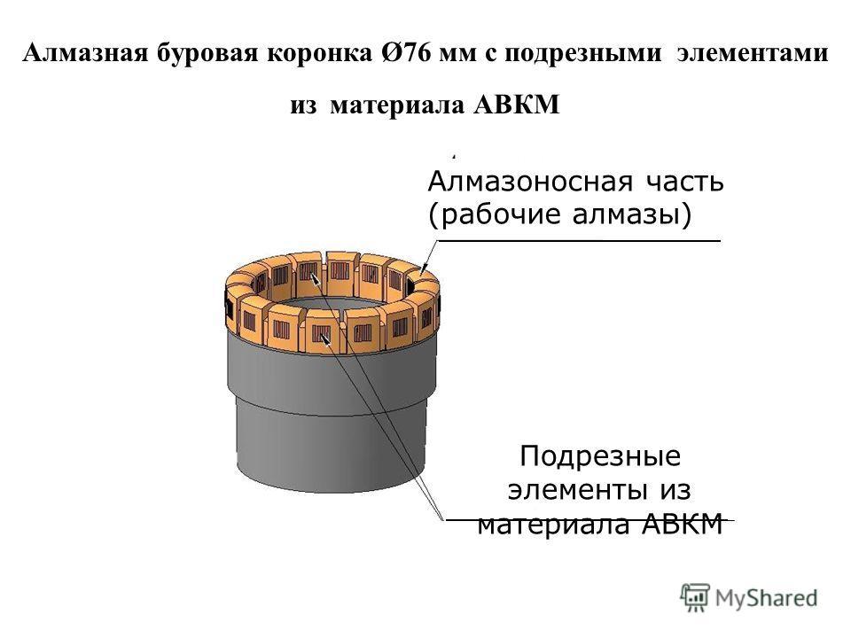 Алмазная буровая коронка Ø76 мм с подрезными элементами из материала АВКМ Подрезные элементы из материала АВКМ Алмазоносная часть (рабочие алмазы)