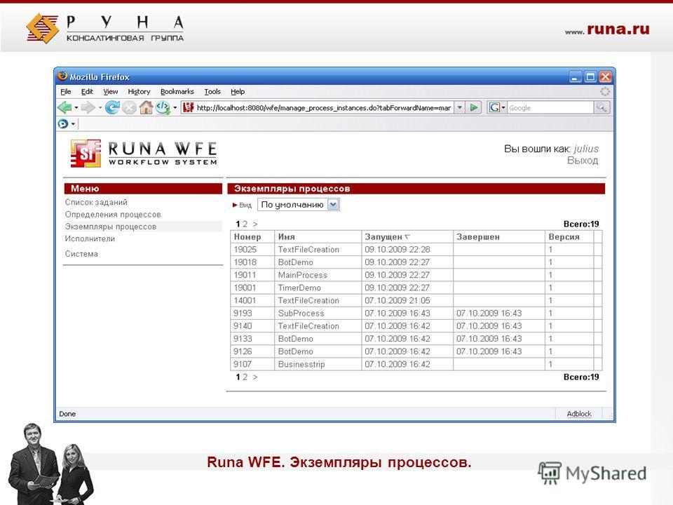 Runa WFE. Экземпляры процессов.