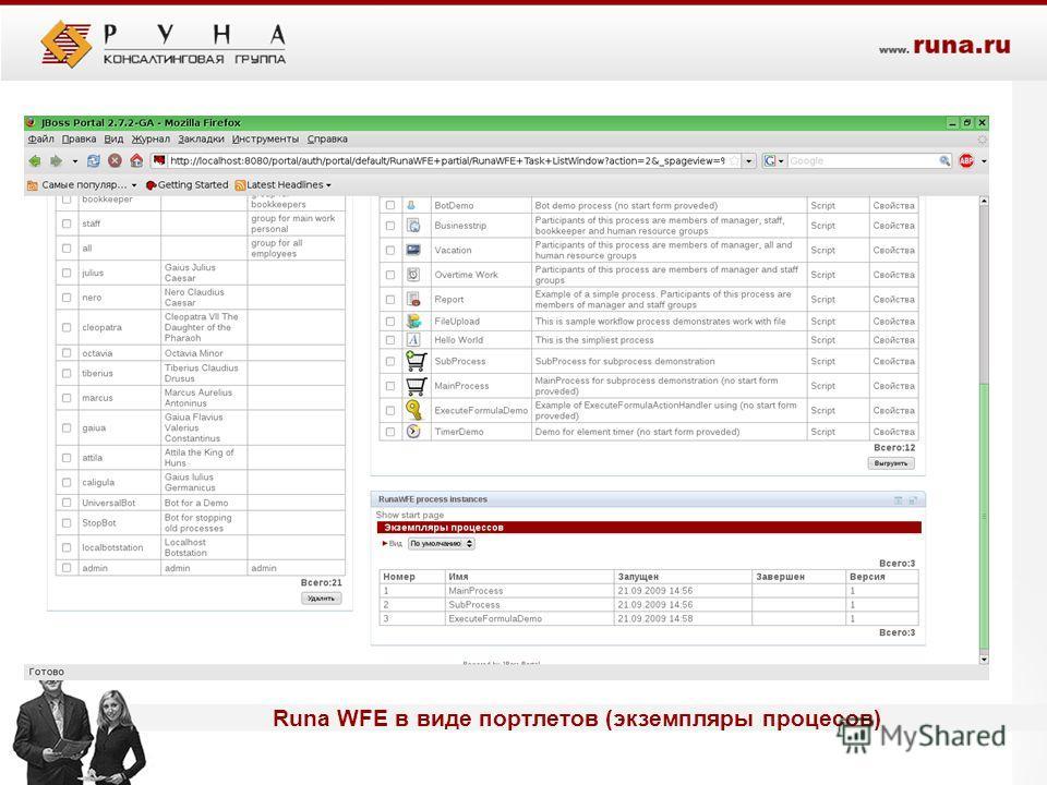 - Runa WFE в виде портлетов (экземпляры процесов)