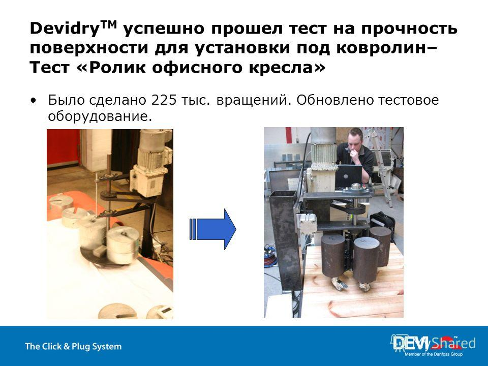 Devidry TM успешно прошел тест на прочность поверхности для установки под ковролин– Тест «Ролик офисного кресла» Было сделано 225 тыс. вращений. Обновлено тестовое оборудование.