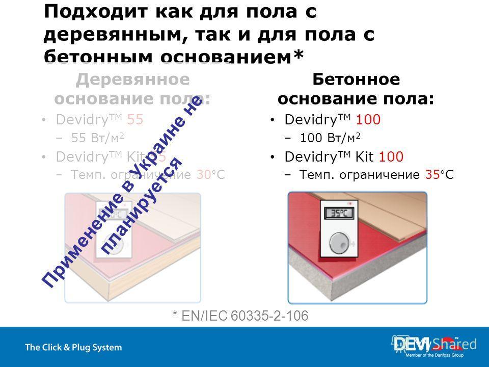 Подходит как для пола с деревянным, так и для пола с бетонным основанием* Деревянное основание пола: Devidry TM 55 55 Вт/м 2 Devidry TM Kit 55 Темп. ограничение 30°C Бетонное основание пола: Devidry TM 100 100 Вт/м 2 Devidry TM Kit 100 Темп. ограниче