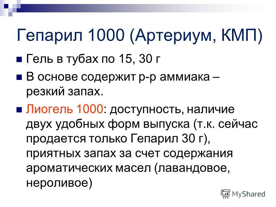 Гепарил 1000 (Артериум, КМП) Гель в тубах по 15, 30 г В основе содержит р-р аммиака – резкий запах. Лиогель 1000: доступность, наличие двух удобных форм выпуска (т.к. сейчас продается только Гепарил 30 г), приятных запах за счет содержания ароматичес